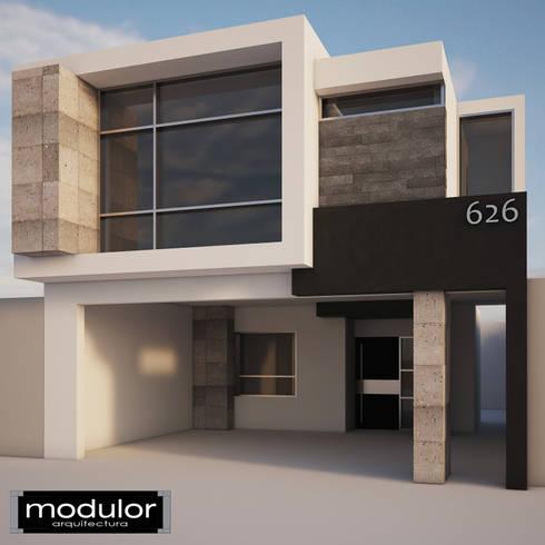 Fachada Guevara 626: Casas de estilo moderno por Modulor Arquitectura