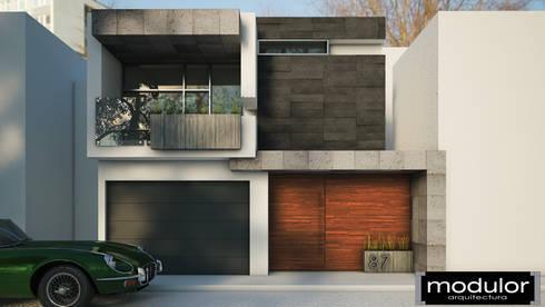 Fachada MG-Ceibas-87: Casas de estilo moderno por Modulor Arquitectura