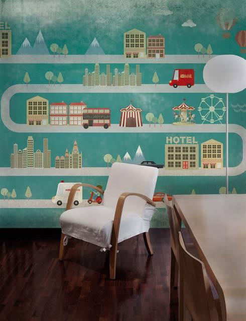 HF047-Town: Quartos clássicos por House Frame Wallpaper & Fabrics