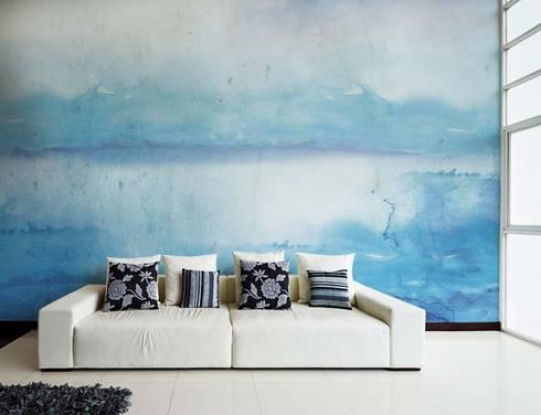 HF049-Blue Waters: Salas de estar clássicas por House Frame Wallpaper & Fabrics