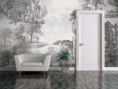 HF056-Old Illustration: Salas de estar clássicas por House Frame Wallpaper & Fabrics