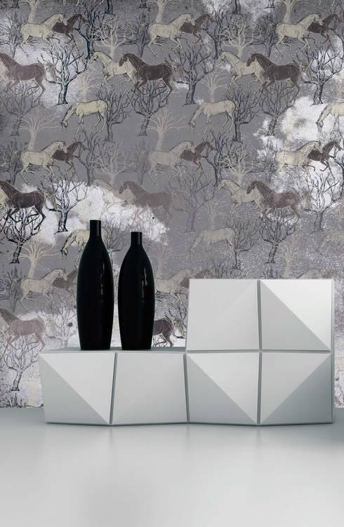 HF057-Horses in the Clouds: Salas de jantar clássicas por House Frame Wallpaper & Fabrics