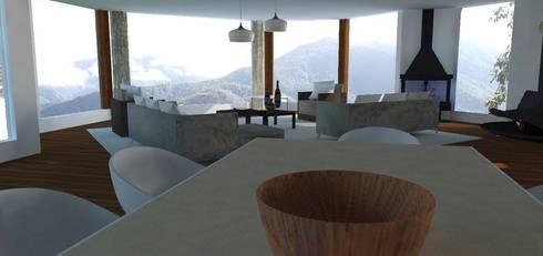 Casa Alpujarra: Salas de estilo moderno por Trianaarquitectos