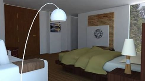 Casa Alpujarra: Habitaciones de estilo moderno por Trianaarquitectos