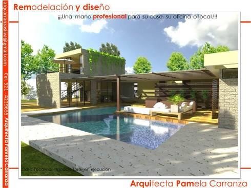 Renders-Proyectos y Espacios: Casas de estilo moderno por ARQUIPAM