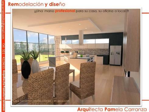 Renders-Proyectos y Espacios: Salas de estilo moderno por ARQUIPAM