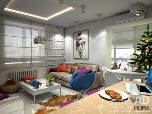 Современный дизайн интерьера,53 кв. м в ЖК Успенские горки: Гостиная в . Автор – Ad-home