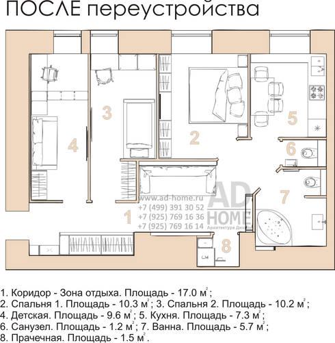 Дизайн интерьера квартиры с перепланировкой из 2-комнатной в 4-ехкомнатную, 68 кв. м, г. Москва: Гостиная в . Автор – Ad-home