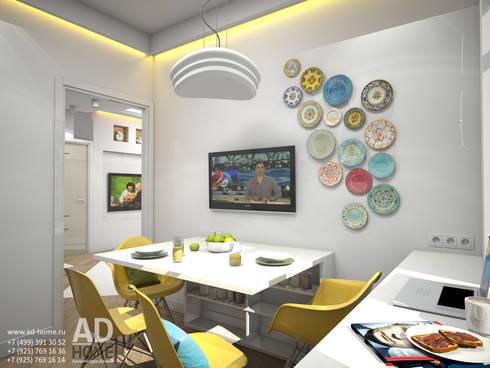 Дизайн интерьера квартиры с перепланировкой из 2-комнатной в 4-ехкомнатную, 68 кв. м, г. Москва: Кухни в . Автор – Ad-home