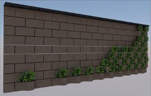 FLORESTA CO BLOCK LISO EN COLOR OCRE.: Jardines de estilo moderno por ENFOQUE CONSTRUCTIVO