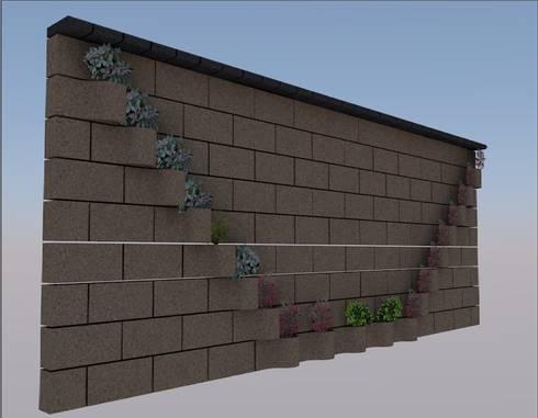 FLORESA EN V, CONRUSTICO OCRE, REMATE NEGRO.: Jardines de estilo moderno por ENFOQUE CONSTRUCTIVO