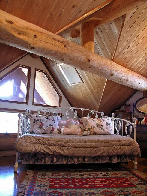 梁構造を意匠として活かしたロフト: Cottage Style / コテージスタイルが手掛けた多目的室です。