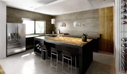 """Cocina Penthouse """"Blue Cedar"""": Cocinas de estilo moderno por Esquiliano Arqs"""