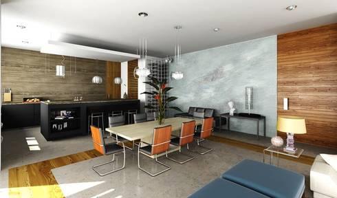 "Penthouse ""Blue Cedar"": Salas de estilo moderno por Esquiliano Arqs"