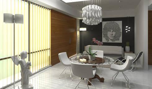 "Penthouse ""Blue Cedar"": Comedores de estilo moderno por Esquiliano Arqs"