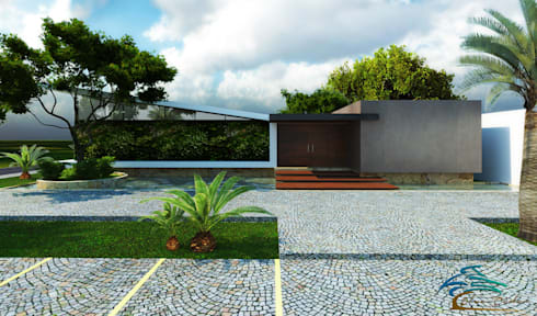 "Salón de usos multiples ""Blue Cedar"": Casas de estilo moderno por Esquiliano Arqs"
