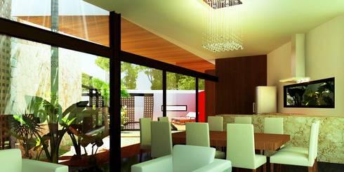 Sala/Comedor/Cocina: Cocinas de estilo moderno por Esquiliano Arqs