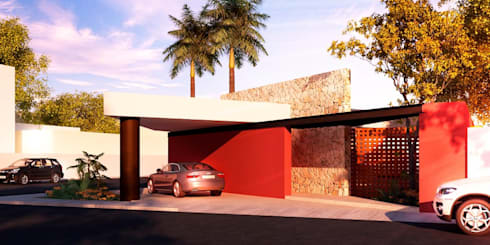 """Fachada """"Casa Diagonal"""": Casas de estilo moderno por Esquiliano Arqs"""