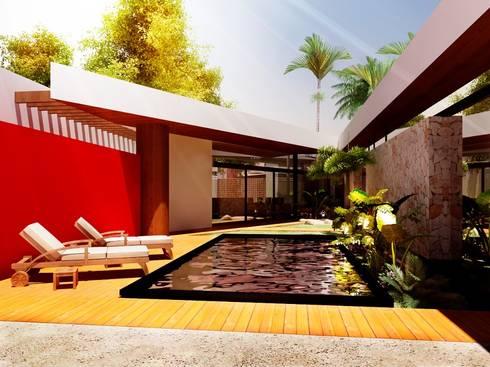 Terraza/Piscina/Asoleadero: Terrazas de estilo  por Esquiliano Arqs
