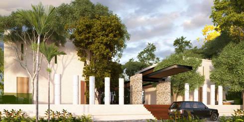 Fachada Interior: Casas de estilo colonial por Esquiliano Arqs