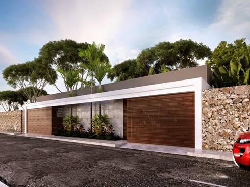 Fachada exterior: Casas de estilo colonial por Esquiliano Arqs