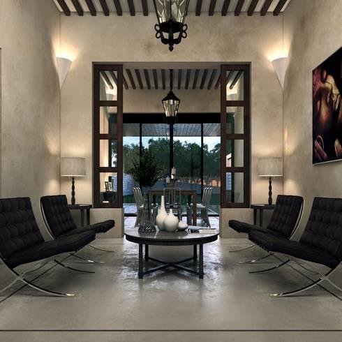 CASA 505 : Salas de estilo colonial por Esquiliano Arqs
