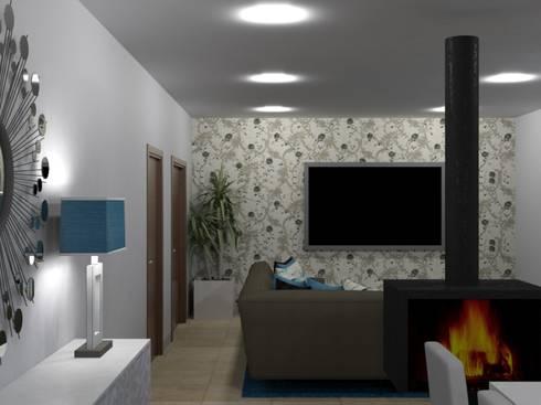 Ampliação de Habitação Unifamiliar: Salas de estar modernas por Palma Interiores