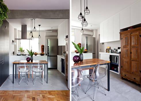 Apartamento da Cláudia e do Daniel: Salas de jantar ecléticas por INÁ Arquitetura