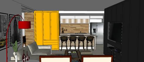 Cobertura Barra Bonita: Salas de estar modernas por Duplex Interiores