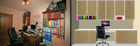 Restyling van een thuiskantoor: moderne Studeerkamer/kantoor door Sfeerontwerp