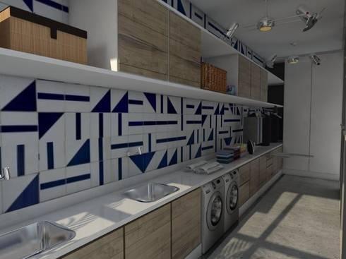 Depois | Lavanderia :   por Studio M Arquitetura