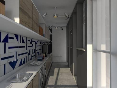 Depois | Lavanderia:   por Studio M Arquitetura