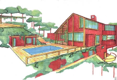 Casa da Mata 6: Casas campestres por David Guerra Arquitetura e Interiores