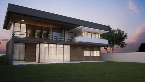 Casa do Bosque - Fachada Fundos: Casas modernas por IVVA Construindo Valores