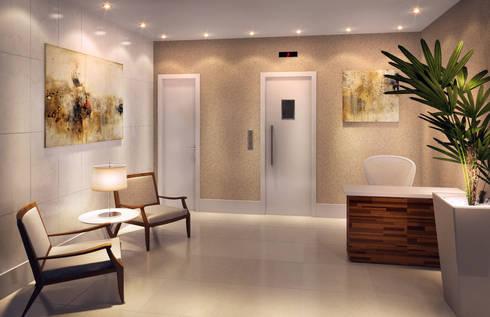 Depois - portaria do apartamento:   por Adriana Leal Interiores