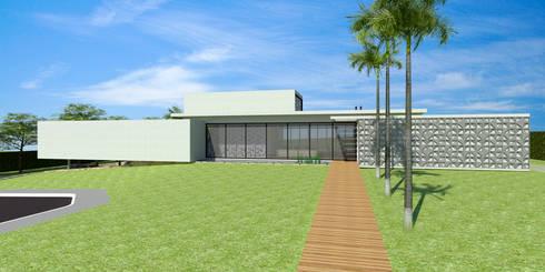 Fachada - Casa - Park Way - Brasília/DF: Casas modernas por Arquitetura do Brasil
