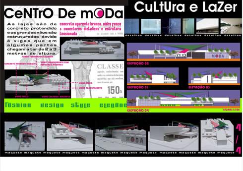 Fachadas - maquete - Centro de Moda, Cultura e Lazer:   por Dunder Koch Arquitetura