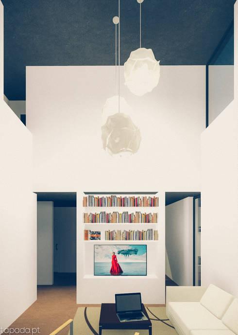 Casa em Fernão Ferro: Salas de estar modernas por Tapada arquitectos