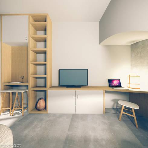Recuperação em Évora: Salas de estar modernas por Tapada arquitectos