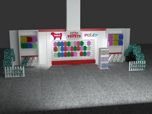 Render para stand comercial /exhibición:  de estilo  por SIMETRIC ARQUITECTURA INTERIOR