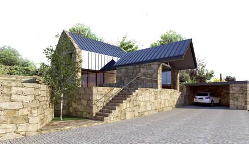 Perspectiva - alçado lateral esquerdo e alçado principal: Casas rústicas por Davide Domingues Arquitecto