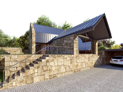 Perspectiva 2 - alçado lateral esquerdo e alçado principal: Casas rústicas por Davide Domingues Arquitecto