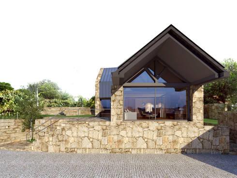 Alçado principal: Casas rústicas por Davide Domingues Arquitecto