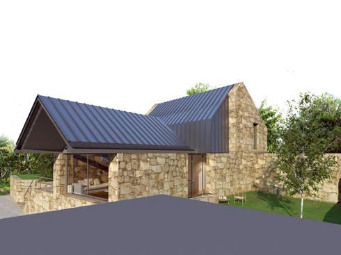 Perspectiva 3 - alçado principal e alçado lateral direito: Casas rústicas por Davide Domingues Arquitecto