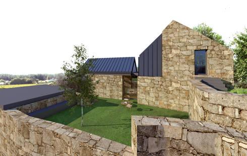 Alçado lateral es: Casas rústicas por Davide Domingues Arquitecto