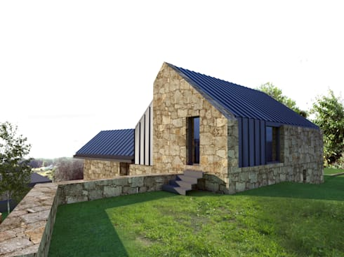 perspectiva 4 - Alçado lateral direito e alçado posterior: Casas rústicas por Davide Domingues Arquitecto
