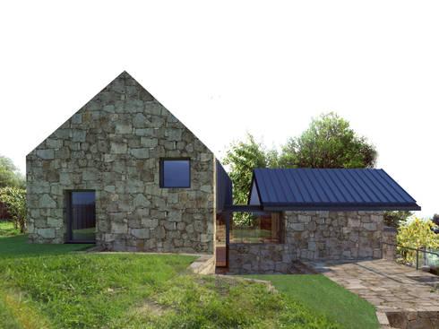 Alçado lateral esquerdo: Casas rústicas por Davide Domingues Arquitecto