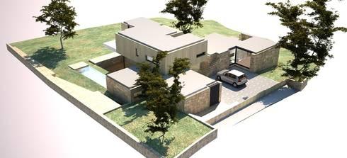 Vista aérea - alçado lateral esquerdo e alçado principal:   por Davide Domingues Arquitecto