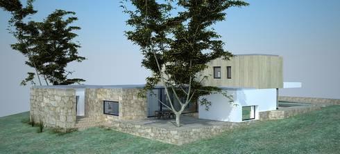 Perspectiva - alçado lateral direito e Posterior:   por Davide Domingues Arquitecto