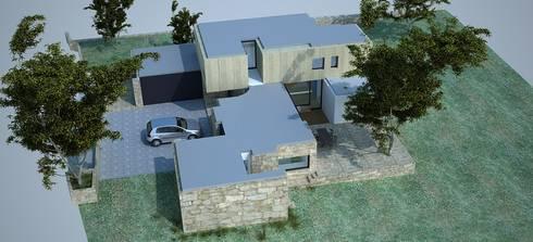 Vista aérea - alçado lateral direito:   por Davide Domingues Arquitecto